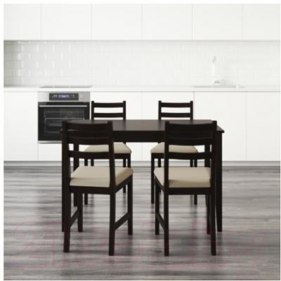 Обеденная группа Ikea Лерхамн 090.071.63 (черно-коричневый/бежевый)