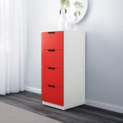 Комод Ikea Нордли 090.272.55 (красный/белый)
