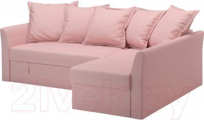 Угловой диван-кровать Ikea Хольмсунд 090.486.44 (Ранста светло-розовый)