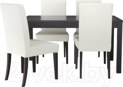 Обеденная группа Ikea Бьюрста / Хенриксдаль 099.282.60 (коричнево-черный/белый)