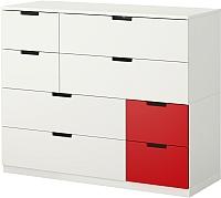 Комод Ikea Нордли 190.272.69 (белый/красный) -