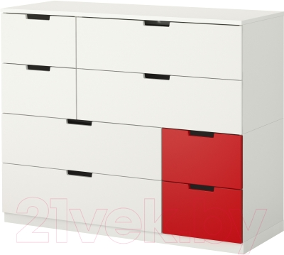 Комод Ikea Нордли 190.272.69 (белый/красный)