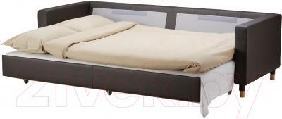 Диван-кровать Ikea Ландскруна 191.669.86 (темно-коричневый/дерево) - в разложенном виде