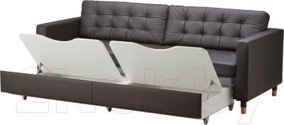Диван-кровать Ikea Ландскруна 191.669.86 (темно-коричневый/дерево) - ящики для хранения