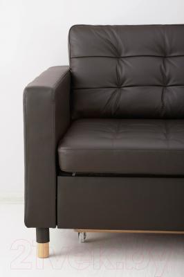 Диван-кровать Ikea Ландскруна 191.669.86 (темно-коричневый/дерево)
