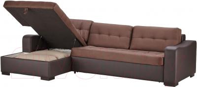Угловой диван-кровать Ikea Лиарум/Ласеле 191.720.63 (коричневый/темно-коричневый) - козетка с отделением для хранения