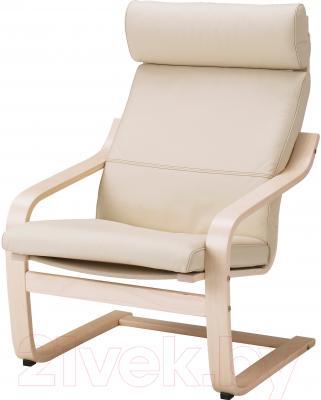 Кресло Ikea Поэнг 198.305.88 (березовый шпон/светло-бежевый)
