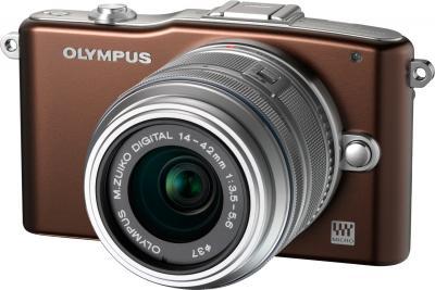 Беззеркальный фотоаппарат Olympus E-PM1 Kit 14-42mm Brown - общий вид