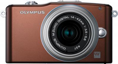 Беззеркальный фотоаппарат Olympus E-PM1 Kit 14-42mm Brown - вид спереди