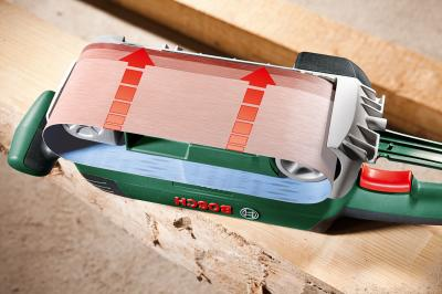 Ленточная шлифовальная машина Bosch PBS 75 A (0.603.2A1.020) - в работе