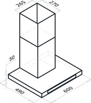 Вытяжка Т-образная Backer CH60E-T1L160 (нержавейка/черное стекло) - схема