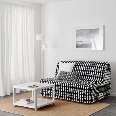 Диван-кровать Ikea Ликселе Левос 391.498.92 (Эббарп черный/белый) - в интерьере