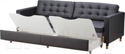 Диван-кровать Ikea Ландскруна 391.669.85 (черный/дерево)