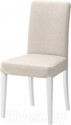 Стул Ikea Хенриксдаль 398.745.57 (белый/Линнерид неокрашенный)
