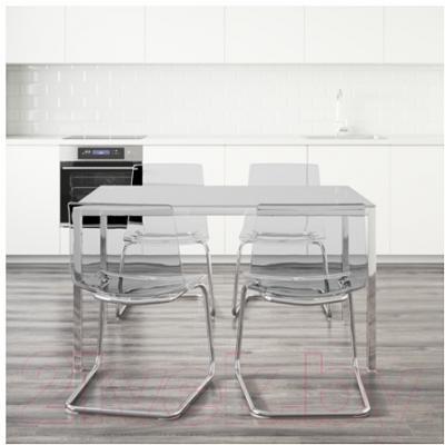 Обеденная группа Ikea Торсби / Тобиас 199.321.48 (белый/прозрачный)