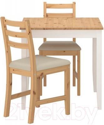 Обеденная группа Ikea Лерхамн 490.072.03 (светлая морилка антик/бежевый)