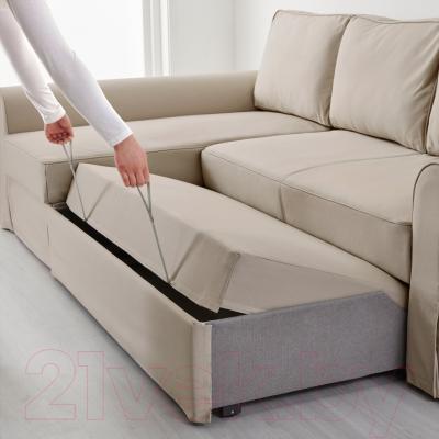 Угловой диван-кровать Ikea Баккабру 490.335.32 (Тигельшо бежевый)