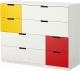 Комод Ikea Нордли 491.224.82 (белый/красный/желтый) -