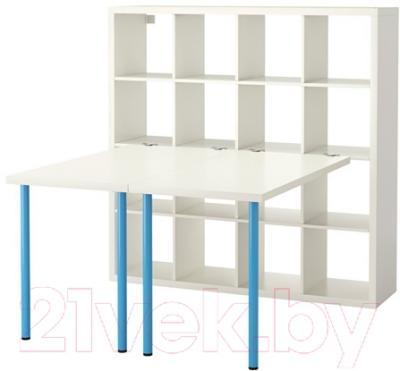 Компьютерный стол Ikea Каллакс 491.336.16 (белый/синий)