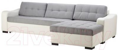 Угловой диван-кровать Ikea Лиарум/Ласеле 491.720.66 (серый/белый)