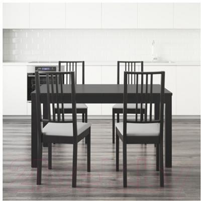 Обеденная группа Ikea Бьюрста / Берье 498.929.28 (коричнево-черный/белый)