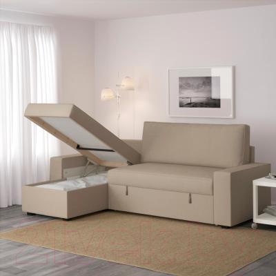Угловой диван-кровать Ikea Виласунд 499.071.85 (Дансбу бежевый)
