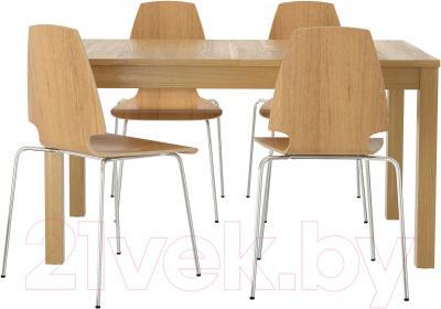 Обеденная группа Ikea Бьюрста / Вильмар 499.170.66 (дубовый шпон/хром)