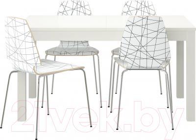 Обеденная группа Ikea Бьюрста / Вильмар 499.171.94 (белый/черная полоска)