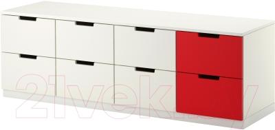 Комод Ikea Нордли 590.272.67 (белый/красный)