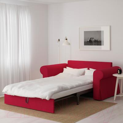 Диван-кровать Ikea Баккабру 591.336.49 (Нордвалла красный) - в разложенном виде