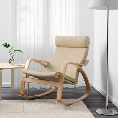Кресло-качалка Ikea Поэнг 199.008.78 (дубовый шпон/светло-бежевый)