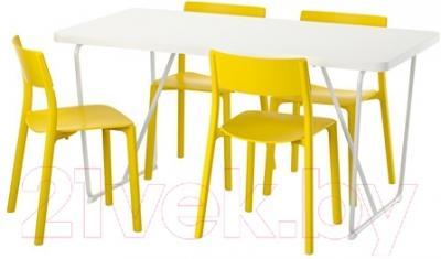 Обеденная группа Ikea Рюдебэкк/ Бэккарид / Ян-Инге 691.612.03 (белый/желтый) - Инструкция по сборке