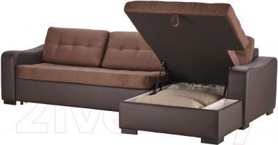 Угловой диван-кровать Ikea Лиарум/Ласеле 691.720.65 (коричневый/темно-коричневый) - козетка с отделением для хранения