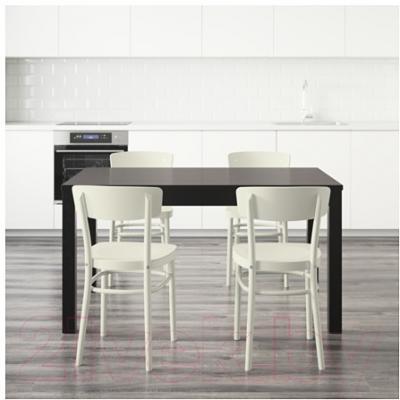 Обеденная группа Ikea Бьюрста/Идольф 699.320.56 (черно-коричневый/белый)