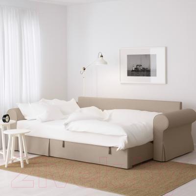 Угловой диван-кровать Ikea Баккабру 791.336.34 (Хильте бежевый)