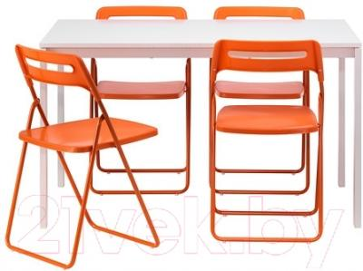 Обеденная группа Ikea Мельторп / Ниссе 890.128.01 (белый/оранжевый)