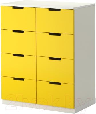 Комод Ikea Нордли 890.272.61 (желтый/белый)