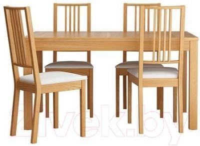 Обеденная группа Ikea Бьюрста / Берье 898.980.75 (дубовый шпон/белый)