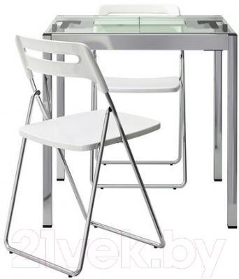 Обеденная группа Ikea Гливарп / Ниссе 990.106.65 (прозрачный/белый/хром)
