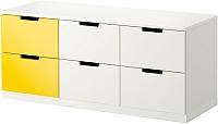 Комод Ikea Нордли 990.272.65 (белый/желтый) -