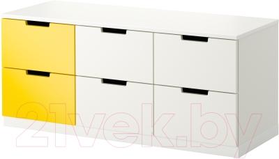 Комод Ikea Нордли 990.272.65 (белый/желтый)
