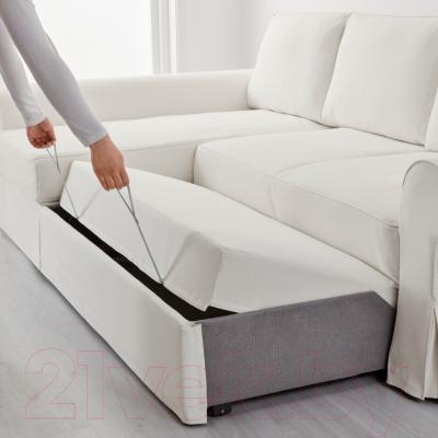 Угловой диван-кровать Ikea Баккабру 991.336.33 (Хильте белый)