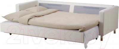 Диван-кровать Ikea Ландскруна 991.669.87 (белый/дерево) - в разложенном виде