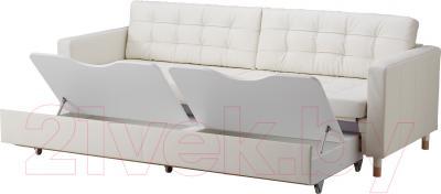Диван-кровать Ikea Ландскруна 991.669.87 (белый/дерево) - ящики для хранения