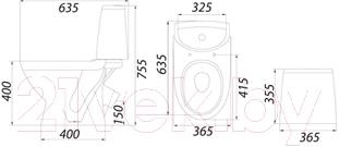 Унитаз напольный Colombo Лотос Basic S14940500 - схема