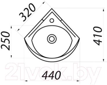 Умывальник Colombo Полисся R S19270100 - схема