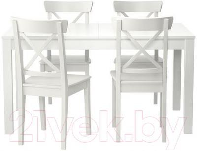 Обеденная группа Ikea Бьюрста / Ингольф 299.282.64 (белый)