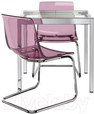 Обеденная группа Ikea Гливарп/Тобиас 390.106.73 (прозрачный/сиреневый/хром)