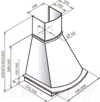Вытяжка купольная Teka Mirabel 90 HP / 40495450 (ваниль)