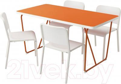 Обеденная группа Ikea Рюдебэкк/ Бэккарид / Мельторп 390.472.28 (белый/оранжевый)